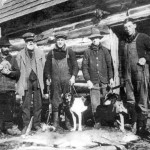 Hunting has long been a favourite activity in the Haliburton area. Here a group of gentlemen pose outside their cabin after a successful deer hunt.