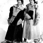 Bess Dart and Clara Gorrie are seen here having a fun time, despite the blustery winter weather.